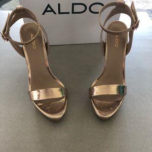 NIB Aldo rose gold stilettos open toed, strappy.